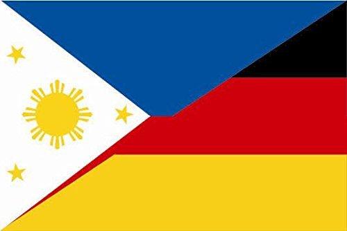 U24 Fahne Flagge Philippinen-Deutschland Bootsflagge Premiumqualität 30 x 45 cm