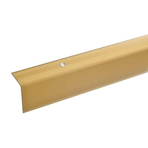 acerto 38072 Aluminium Treppenwinkel-Profil - 100cm, 42x30mm, gold * Rutschhemmend * Robust * Leichte Montage   Treppenkanten-Profil, Treppenstufen-Profil aus Alu   Gelochtes Stufenkanten-Profil