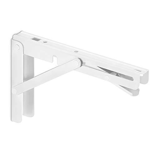SOTECH 1 Paar klappbare Wandkonsolen weiß (200 x 121 mm) Klappbeschläge belastbar bis 150 kg