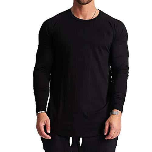 Camiseta de manga larga para hombre, camiseta deportiva de color sólido, cuello redondo
