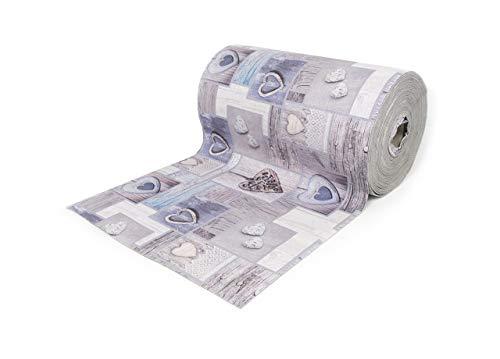 Tappeto Passatoia Antiscivolo con Stampa Digitale Fantasia Mosaico Grigio 50x400 Grigio