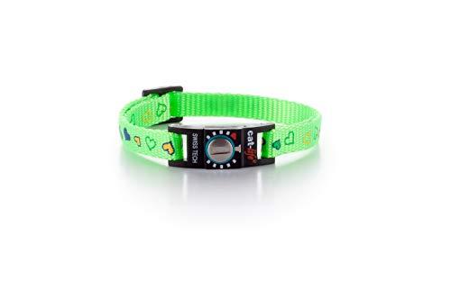 cat-life Katzen Sicherheitshalsband Sicherheitsverschluss individuell einstellbar (Hearts hellgrün, unter 4 kg Verschluss blau)