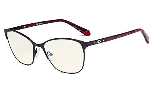 Eyekepper Occhiali per Filtro Luce Blu Le signore - Protezione UV Occhiali da Computer Grande Occhio di Gatto Donna - Anti Schermo Raggi blu - Nero