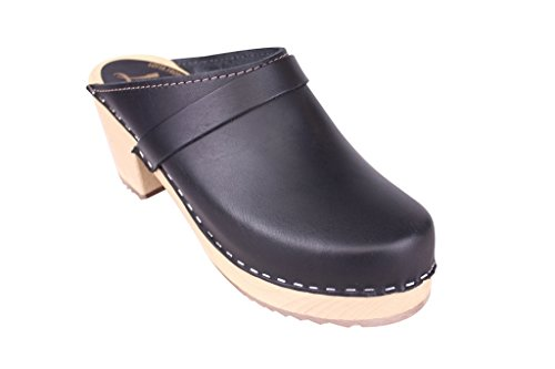 Lotta From Stockholm Torpatoffeln Swedish Clogs : High Heeled Clog in Black Leather US 9 M/EUR 40