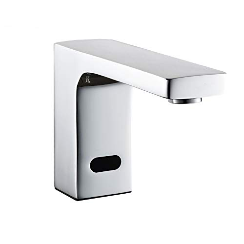 Electric Automatic Touchless Bathroom Sink Faucet Hot and Cold Mixer Sensor Faucet with Control Box Vanity Faucets,Hands Free Bathroom Water Tap,Chrome Finished