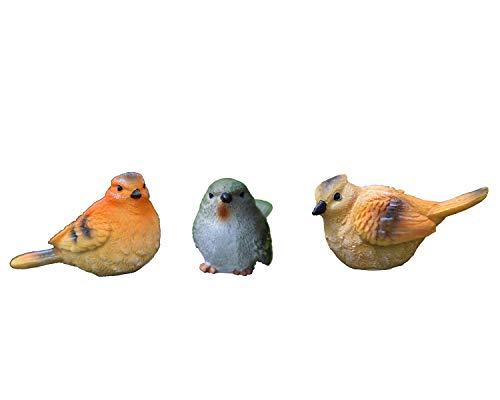 Schöne Vogel Figur aus Kunstharz, 3er Set, Kleine Vögel Tier Statue Miniatur Skulptur, Haus Garten Ornament Verzierung Dekor