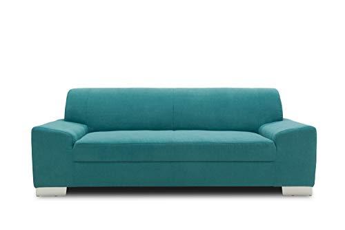 DOMO Collection Alisson Sofa, 3er Couch, 3-Sitzer, 3er Garnitur, 199x83x75 cm, Polstergarnitur in türkis