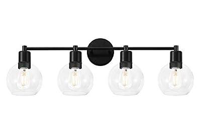 Modern Globe Vanity Light, Industrial 4-Light Indoor Wall Sconce Bathroom Vanity Lighting with Glass Lights Shade and Black Finish, for Hallway,Kitchen,Bedroom?Black?