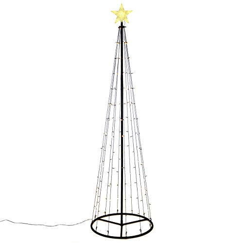 140 LED warm weiß Lichtpyramide mit Leucht-Stern Lichterbaum 240 cm Baum mit Stern Trafo Weihnachtsbaum Weihnachtsdeko Außen Leuchtbaum