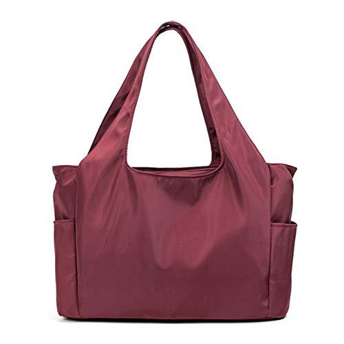 Bolsos De Nailon Para Mujer Bolsos De Hombro Con Múltiples Compartimentos Bolso Ligero Para Mamá Bolso Grande De Ocio Impermeable(Size:36 * 14 * 24cm,Color:Vino rojo)