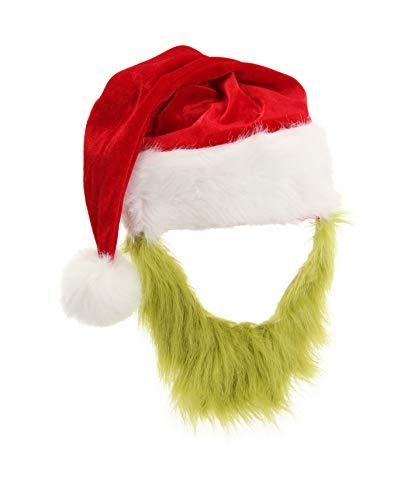 Dr. Seuss The Grinch Plush Santa Costume Hat with Beard