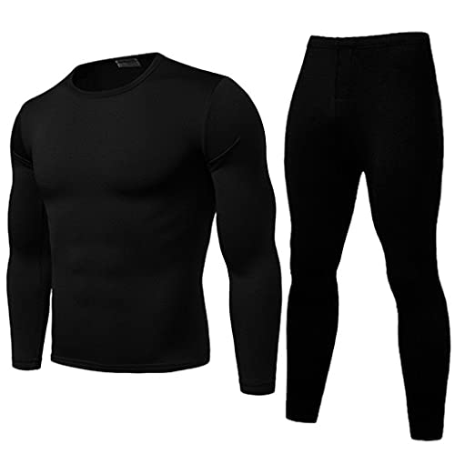 GELTDN 2pcs Men Thermal Underwear Set Winter Long Pajama Set Fit Tops Bottoms Winter Warm Velvet Inner Wear (Color : D, Size : L Code)