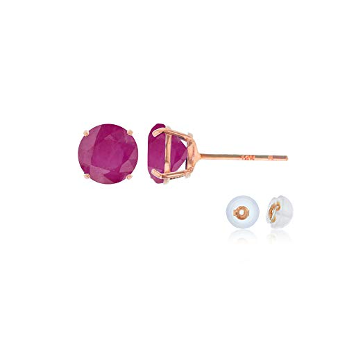 Genuine 10K Solid Rose Gold 4mm Round Natural Ruby July Birthstone Stud Earrings