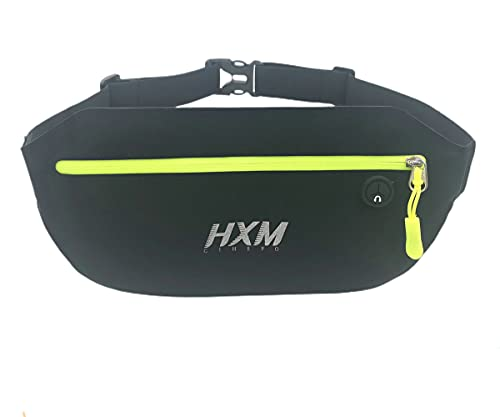 Upgraded Running Belt, Lycra Coated Spandex Water Resistant Sport Waist Pack, Multi-purpose Phone Pouch Slim Fanny Pack for Cycling, Jogging, Race, Fitness, Hiking - 2021 (Black / Green, Large)