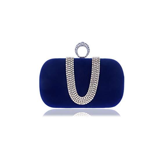 NA Sac dîner, Femmes Embrayages Sacs à Main Sacs Cristal de Diamant d'enveloppe de Mariage perlée de Bal du Soir Sac à Main (Color : Blue)