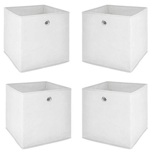 JUEYAN 4 Stück Faltbare Aufbewahrungsbox Stoff Faltbox Faltkiste Weiß 32 x 32 x 32 cm mit Fingerloch für Raumteiler oder Regale