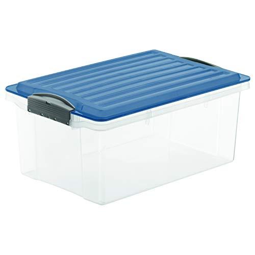 Rotho Compact Aufbewahrungsbox 13l mit Deckel, Kunststoff (PP) BPA-frei, blau/transparent, A4/13l (39,5 x 27,5 x 18,0 cm)