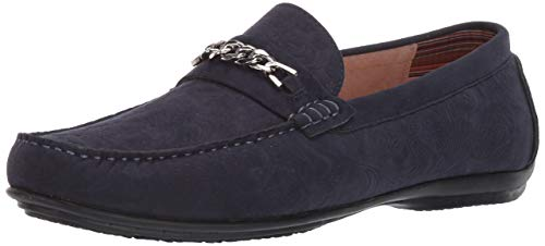 STACY ADAMS mens Clem Moe Toe Bit Slip-on Driving Style Loafer, Navy, 10 US