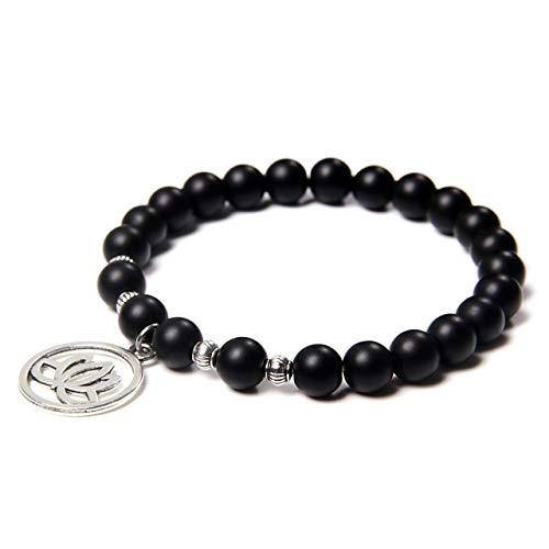 Natural Amazon Stone Stone Bead Bracelet Lotus Bead Charm Charm Elastic Bracelet Jewelry Women Men