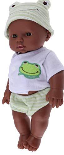 Rrunzfon 30cm Realista Huggable Vinilo Modelo De La Muñeca De La Muñeca Recién Nacido Africano Negro En La Ropa De Dormir De Los Niños Juguete Verde