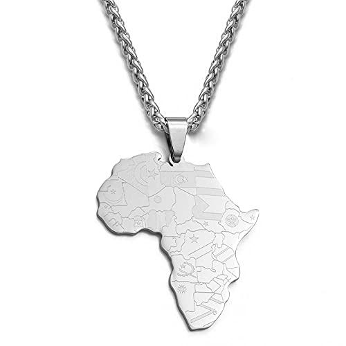 Colgante de bandera africana para hombres, mujeres, acero inoxidable, pulido, mapa africano, cadena de eslabones, color plateado, 50 cm