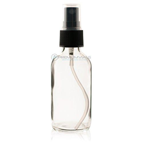 2 Oz (60 ml) Clear Boston Round Glass Bottle w/Black Fine Mist Sprayer- 12 pcs