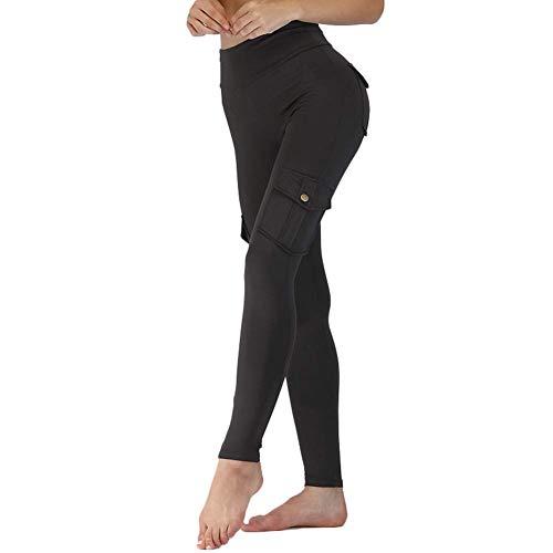 Wechoide Damen Yoga Hose mit Taschen, Elastisch Leggings Bambus Faser Sports Hüften Up Lange Hose - Schwarz, L