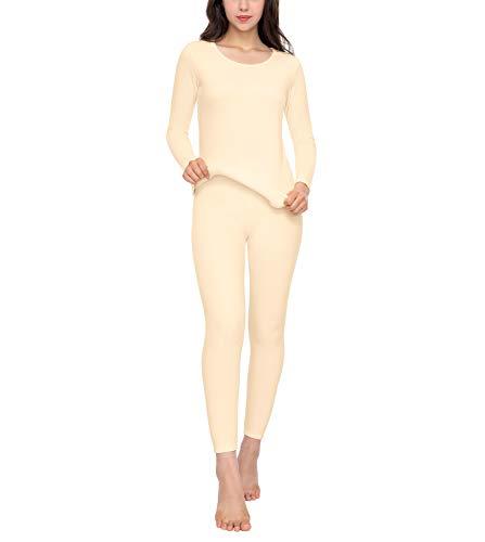LAPASA Women's Heavyweight Thermal Underwear Long John Set Fleece Lined Base Layer Top & Bottom L44 (Large, Nude)