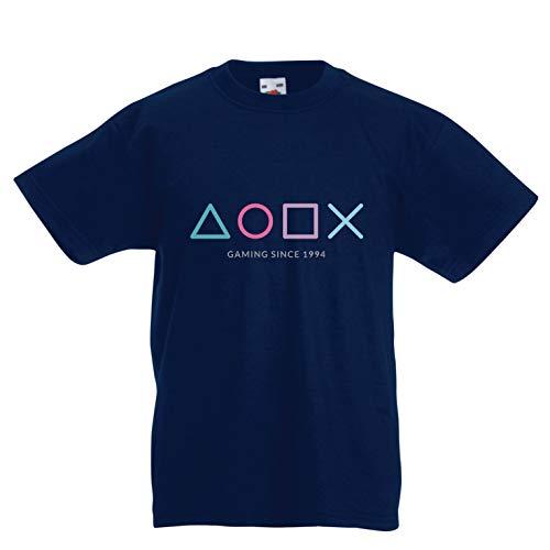 lepni.me Kinder Jungen/Mädchen T-Shirt Videospiel-Controller, Geschenk für Gamer, Gaming-Liebhaber-Bekleidung (12-13 Years Dunkelblau Mehrfarben)