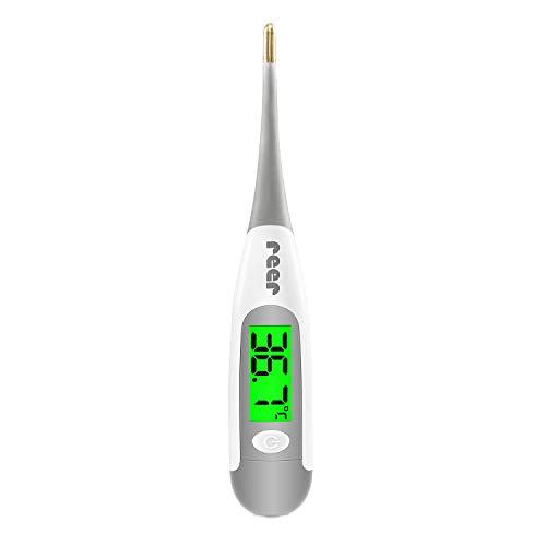 reer ExpressTemp Pro Digitales Fieberthermometer, Messzeit 10 Sekunden, vergoldete flexible Spitze, beleuchtetes Display, für Baby und Kleinkind 98122