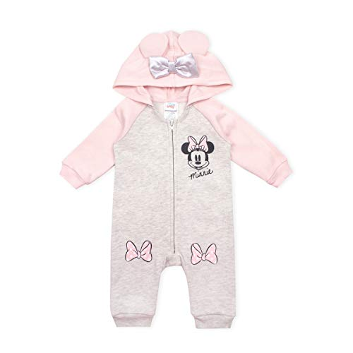 Disney Baby Girl Minnie Mouse Coverall Romper Onesie with Hood and 3D Mouse Ears, Beige- 6/9M