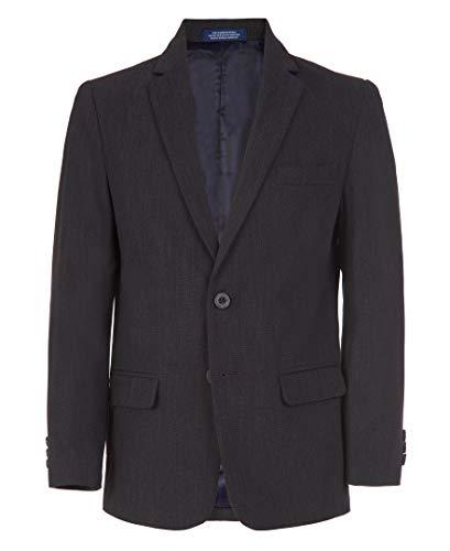 IZOD Boys' Big Bi-Stretch Blazer Suit Jacket, Charcoal Heather, 14