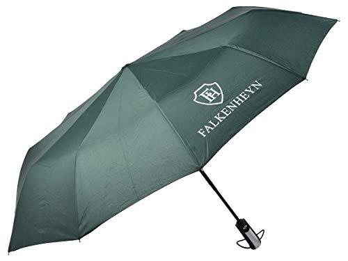 Falkenheyn Regenschirm Sturmfest Taschenschirm mit voll-automatischer Auf Zu Automatik Windfest Grün
