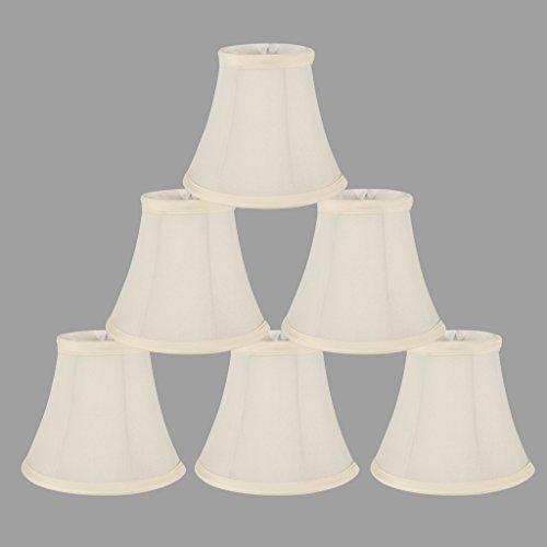 onepre creme Leinen Clip auf Lampenschirme Kleine Kerze Kronleuchter Lampenschirm Bell 15,2cm, Set von 6