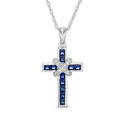 Colgante de cruz de 2,0 mm de zafiro azul y diamante de 1/4 de quilates T.W. D/VVS1 'X' de 45,72 cm en plata de ley 925