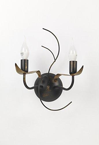 Onli Bugia Applique 2 Luci E14, Marrone/Oro, 28 x 17 x h 35 cm