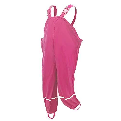 AMIYAN Kinder Regenlatzhose Regenhose wasserdichte Atmungsaktiv Buddelhose Matschhose mit Hosenträgern für Mädchen Jungen Rose 134/140