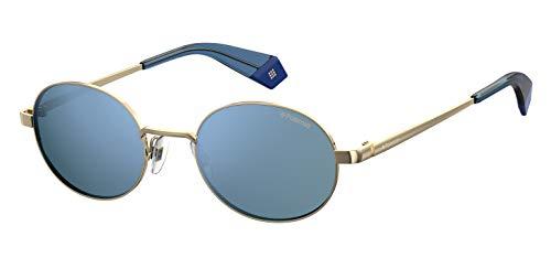 Polaroid Sunglasses PLD 6066/S Oval Sunglasses, Gold Blue/Polarized Platinum, 51mm