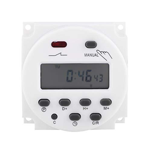 Temporizador digital, LCD Digital Semanal Programable microordenador Interruptor de tiempo Temporizador de relé 17 encendido y apagado(220V)