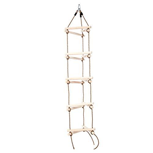 Strickleiter, Kletterschaukel für Kinder, 3 in 1 Robustes PE-Seil Mutige Holztragfähigkeit 150KG Qualitätsspielplatzgeräte 82 Zoll Indoor Outdoor Essential