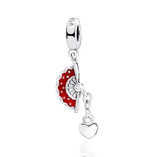LILANG Pandora Jewelry Bracelet 925 Natural Popular Fit Cuentas de Plata esterlina Originales Abanico español Corazón Dangle Charms Girl Bricolaje Regalos para Mujeres