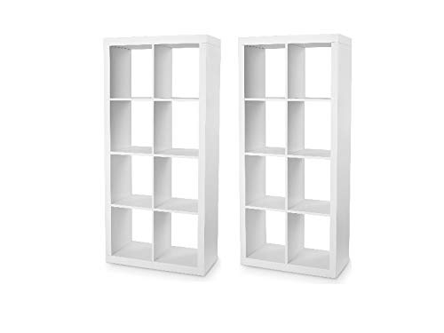 Etter Homes and Gardens. Furniture 8-Cube Room Organizer Storage Divider/Bookcase in White - Set of 2
