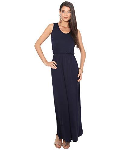 3288-NVY-14: Sommer Maxi Kleid Strandkleid Ärmellos: Marineblau (3288) 42