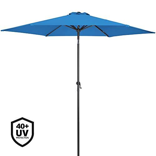 Deuba Sonnenschirm Aluminium Ø300cm mit UV-Schutz 40+ inkl. Kurbe+ Dachhaube mit Neigevorrichtung blau - Kurbelsonnenschirm Marktschirm Gartenschirm