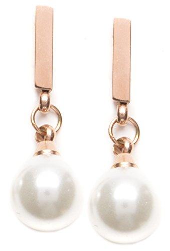 Happiness Boutique Damen Zarte Ohrringe Stab und Perle in Rosegold | Perlenohrringe in Weiß Schmuck aus Edelstahl
