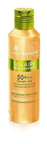 Yves Rocher SOLAIRE PEAU PARFAITE Leche solar para mimar SPF 50, protección solar para cara y cuerpo, 1 frasco de 150 ml