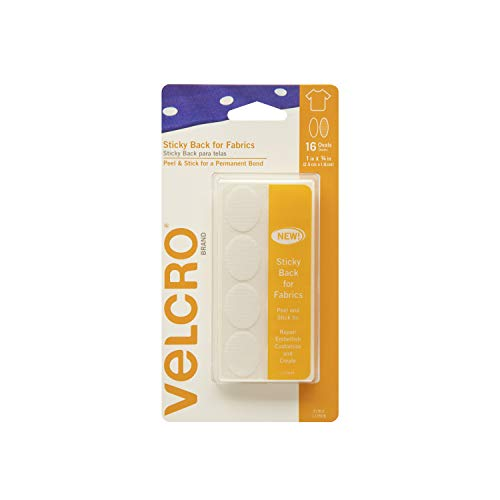VELCRO Brand for Fabrics | Permanent Sticky Back Fabric Tape for Alterations and Hemming | Peel and Stick - No Sewing, Gluing, or Ironing | Pre-Cut Ovals, 1 x 3/4 inch, White - 16 Sets