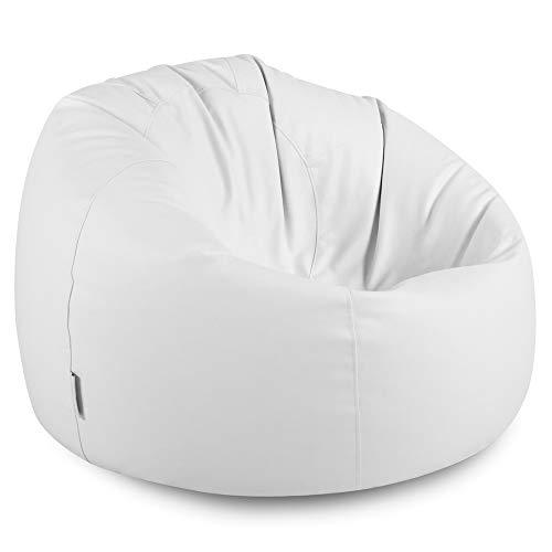 Bean Bag Bazaar Klassischer Sitzsack aus Kunstleder, Weiß, Sitzsäcke für Erwachsene, 85cm x 50cm, Groß, Kunstleder, Sitzsäcke für das Wohnzimmer