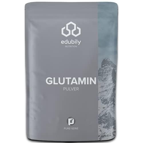 Glutamin Pulver von edubily® • Vegane Aminosäure aus Fermentation • Pures L Glutamin Pulver • Produkt der Kölner Liste® • Mit Dosierlöffel aus PLA • Im recyclebaren Beutel • 500 g