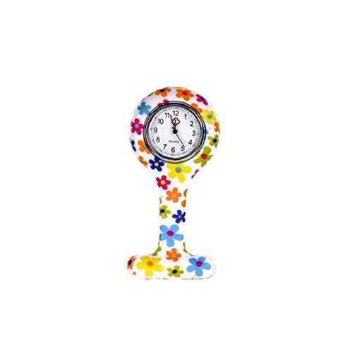NaiCasy Moda Floral Clip de la Enfermera de Tipo T Fob de la Broche de la Jalea del silicón del Reloj Colgante de Bolsillo de la Solapa del Reloj Mujer Niña 86x41mm (Built-in de la batería)